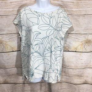 Ann Taylor Loft Soft cream leaf shirt Large soft